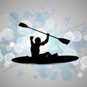 Silueta de un hombre haciendo kayak sobre fondo azul grungy abstracta. eps 10. — Vector de stock