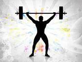 Silhouette of a weight lifter with heavy weight on colorful abstract grunge background. EPS 10. — Cтоковый вектор