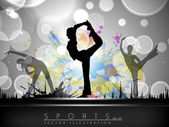 Rhythmic gymnastic girls illustration on colorful wave and grunge background. EPS10. — Stock Vector