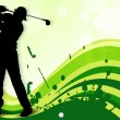 Stock Vector: Tee Shot, silhouette of golfer on green wave background. EPS 1