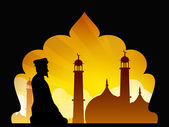 Silhouette of a Muslim man reading Namaz in Mosque or Masjid. EP — Stock Vector