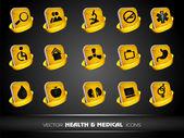Icone mediche set isolato su sfondo grigio. eps 10. — Vettoriale Stock