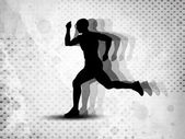 Silhouette of a man athlete running on grungy grey abstract back — Stock Vector
