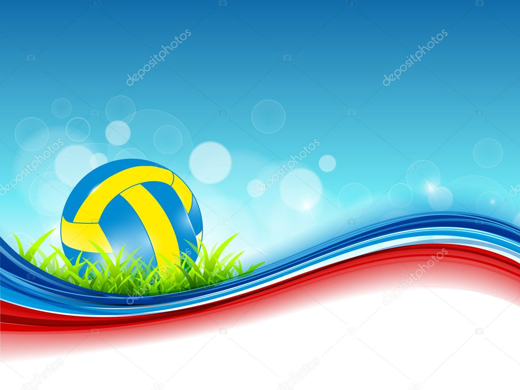 Abstract Background Volleyball Vector Design: Abstract Volleyball On Colorful Wave Background.