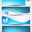 Set of medical banners or website headers. EPS 10. — Vector de stock