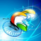 Indian Flag butterfly on shiny Asoka wheel background. EPS 10. — Stock Vector