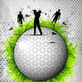 Designed golf background, Element or icon of golf ball with silh — Stock Vector