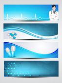 Ensemble de bannières médicales ou en-têtes de site web. eps 10. — Vecteur