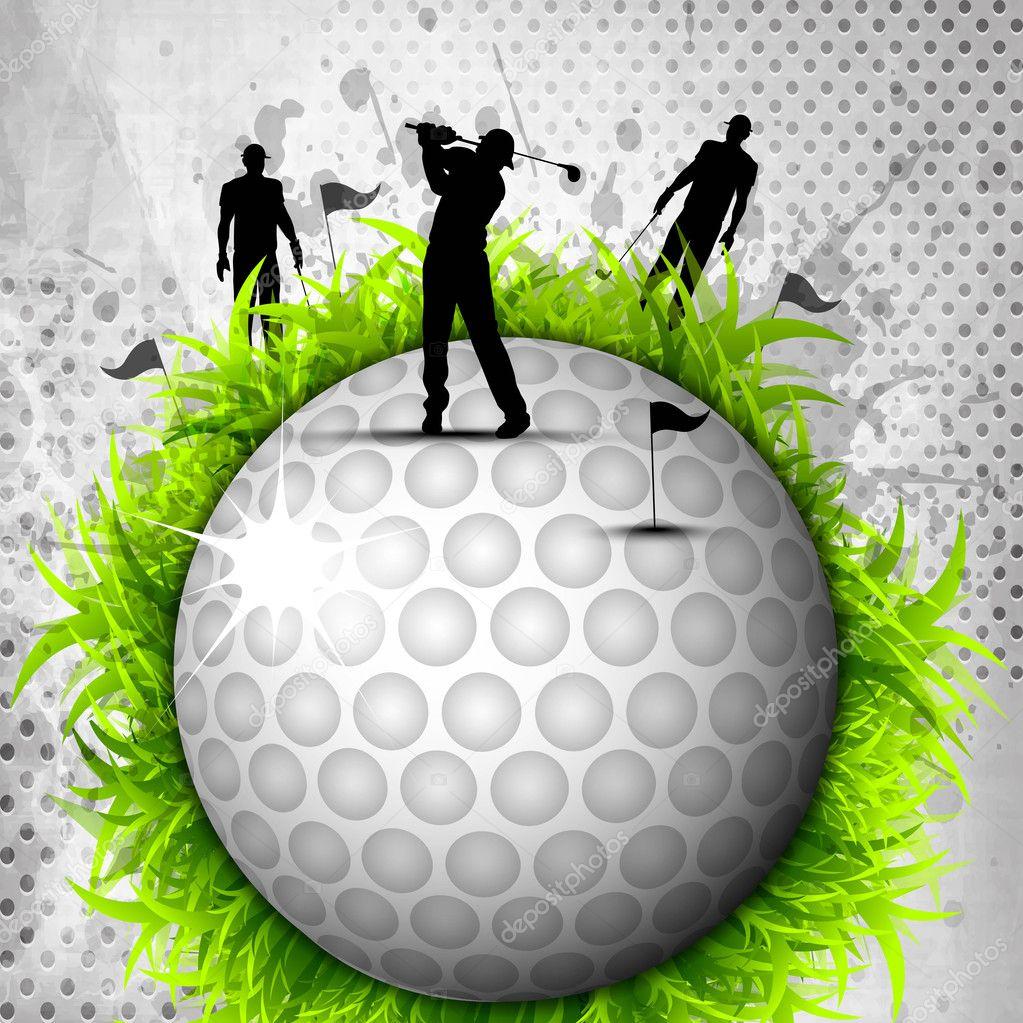 设计高尔夫球场背景, 元素或高尔夫球球的 silh 图标