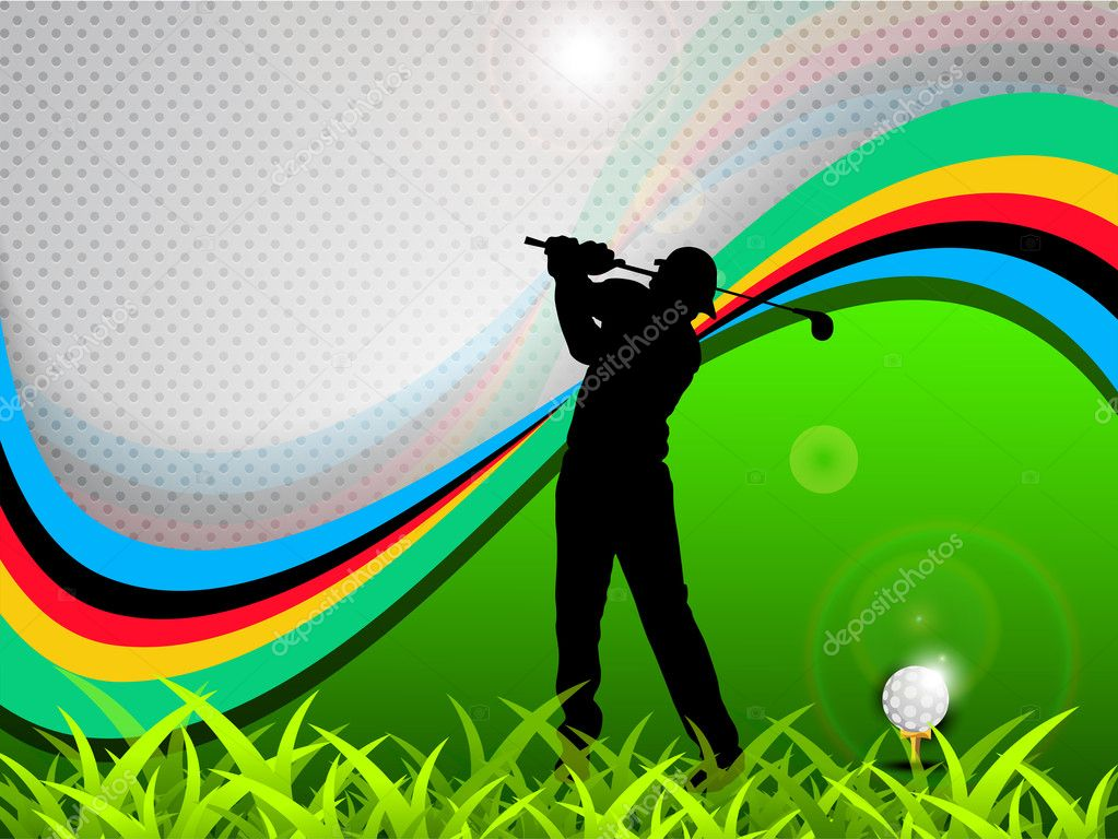Tee Shot, silhouette of a golfer on green grass and colorful wave background. EPS 10. — Stock Vector #11552343