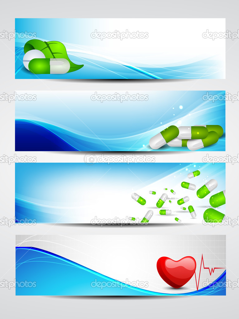 Set of medical banners or website headers. EPS 10. — Stock Vector #11554192