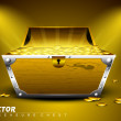 Treasure chest with full of coins on shiny abstract background. — Stock Vector #11691990