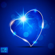 Stock Vector: Shiny heart on abstract blue background. EPS 10.