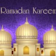 Ramadan Kareem or Ramazan Kareem background with Mosque or Masji — Image vectorielle