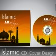 Stock Vector: Islamic CD cover design with Mosque or Masjid silhouette with wa