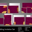 Complete set of wedding invitations or announcements with floral - Stock Vector