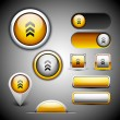 Royalty-Free Stock Obraz wektorowy: Abstract 3D glossy icon sets in yellow color with grey color com