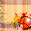 Illustration of Basketball on grungy abstract background with te — Stock Vector