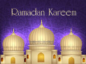 Ramadan Kareem or Ramazan Kareem background with Mosque or Masji — Stockvector