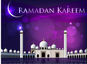 Ramadan Kareem or Ramazan Kareem background with Mosque or Masji — Stock Vector