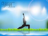 Female Silhouette Doing Yoga Meditation. EPS10 Vector Illustrat — Stock Vector