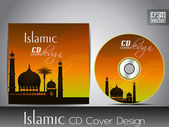 Islamic CD cover design with Mosque or Masjid silhouette with wa — Stock Vector