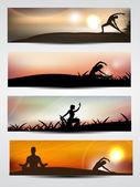 Set of website banner or header of yoga or meditation. EPS 10 — Stock Vector