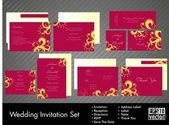 Complete set of wedding invitations or announcements with floral — Stock Vector