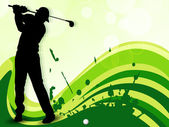Tee Shot, silhouette of a golfer on green wave background. EPS 1 — Stock Vector