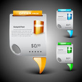 Discount icon set with product display and ribbon, can be use as — Stock vektor