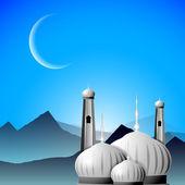 Mezquita o mezquita con la luna en el fondo de la noche. eps 10. 3d iii — Vector de stock