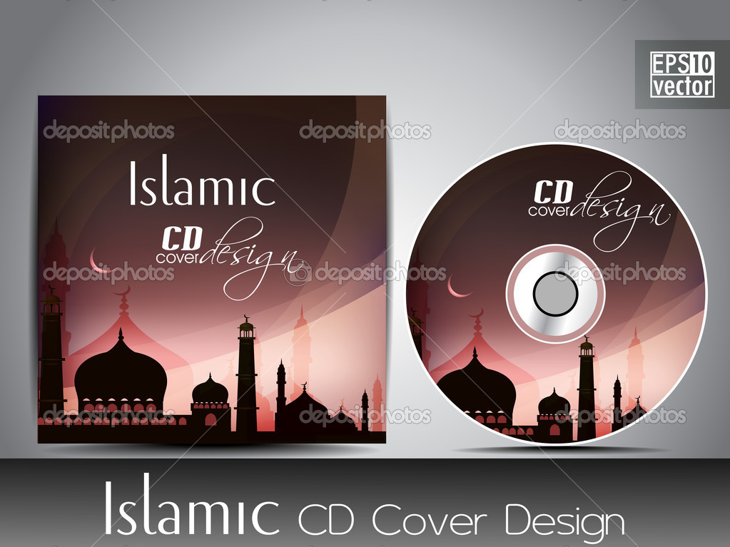 Islamic Book Cover Design Vector : Islamic cd cover design with mosque or masjid silhouette