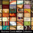 Mega Collection Abstract Vector Retro Business Cards set in vari — 图库矢量图片