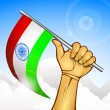 Illustration of a human hand with Indian Flag. EPS 10. — Stock Vector