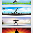 Set of website banners of yoga or meditation. EPS 10 — Stock Vector #11715187