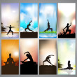 Set of website banners of yoga or meditation. EPS 10 — Stock Vector #11715192