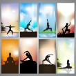 Set of website banners of yoga or meditation. EPS 10 — Stock Vector