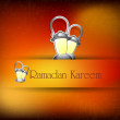 Illustration of Lantern on lamps with text Ramadan Kareem. EPS 1 — Imagens vectoriais em stock