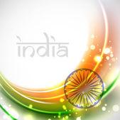 Shiny Indian Flag wave background. EPS 10. — Stock Vector
