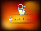 Illustration of Lantern on lamps with text Ramadan Kareem. EPS 1 — Stock Vector