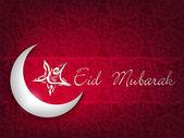 Shiny Moon with Star with Arabic text Eid Mubarak on creative ab — Stock Vector
