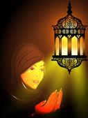 Illustration av en muslimsk tjej i hijab läsa namaz med intric — Stockvektor