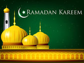 Ramadan Kareem or Ramazan Kareem background with Golden Mosque o — Stock Vector