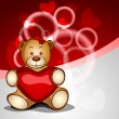 Cute bear with red heart on shiny abstract background. EPS 10. - Stock Vector