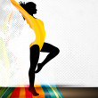 Silhouette of gymnastic girl on abstract grungy colorful wave ba — Stock Vector