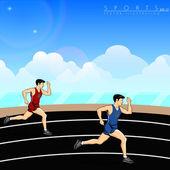 Illustration of athletes, running on race track background. EPS — Stock Vector