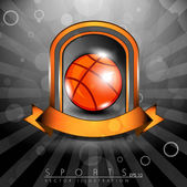 Metallic glossy winning shield of basket ball with orange ribbon — Stock Vector