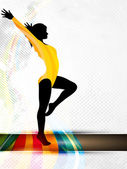 Silhouette of gymnastic girl on abstract grungy colorful wave ba — 图库矢量图片