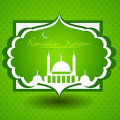 Ramadan Kareem or Ramazan Kareem text with Mosque or Masjid. EPS — Stock Vector