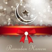 Ramadan Kareem or Ramazan Kareem background with red ribbon, moo — Stock Vector